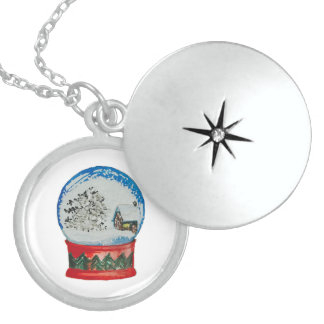 Snow Globe Crystal Ball Winter Village Christmas Locket Necklace