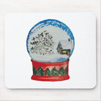 Snow Globe Crystal Ball Winter Village Christmas Mouse Pad