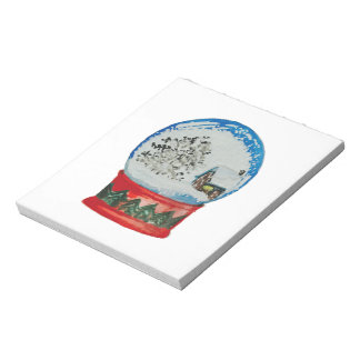 Snow Globe Crystal Ball Winter Village Christmas Notepad