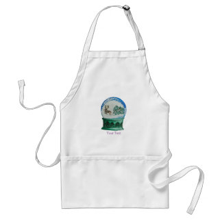 Snow Globe Glass Ball Winter Wonderland Christmas Adult Apron
