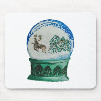 Snow Globe Glass Ball Winter Wonderland Christmas Mouse Pad