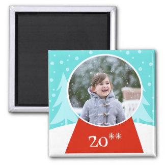 Snow Globe Holiday Photo Magnet