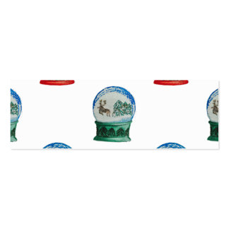 Snow Globe Pattern Winter Christmas Red and Green Double-Sided Mini Business Cards (Pack Of 20)