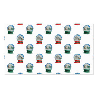 Snow Globe Pattern Winter Christmas Red and Green Double-Sided Standard Business Cards (Pack Of 100)