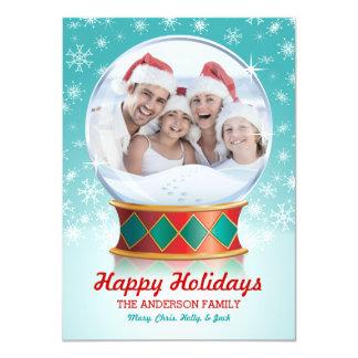 Snow Globe Photo Christmas Card II Custom Invitations