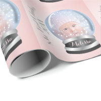 Snow Globe Pink Girl Baby's 1st Christmas Photo Wrapping Paper