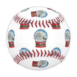 Snow Globe Repeat Pattern Winter Village Christmas Baseball