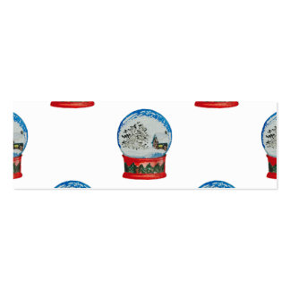 Snow Globe Repeat Pattern Winter Village Christmas Double-Sided Mini Business Cards (Pack Of 20)