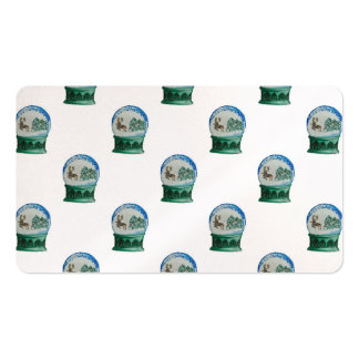 Snow Globe Repeat Pattern Winter Village Christmas Double-Sided Standard Business Cards (Pack Of 100)