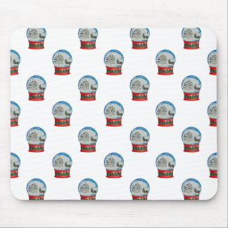 Snow Globe Repeat Pattern Winter Village Christmas Mouse Pad