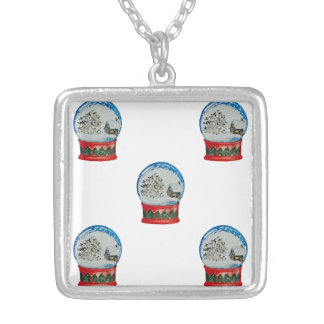 Snow Globe Repeat Pattern Winter Village Christmas Silver Plated Necklace