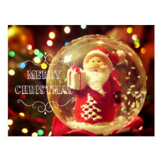 Snow globe Santa Claus Postcard