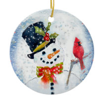 Snow Globe Snowman & Cardinal Ceramic Ornament