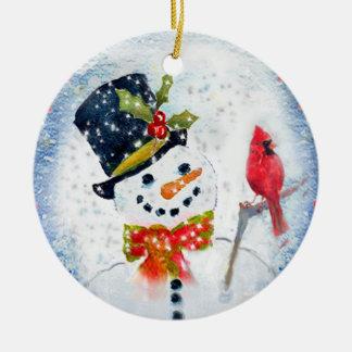 Snow Globe Snowman & Cardinal Double-Sided Ceramic Round Christmas Ornament
