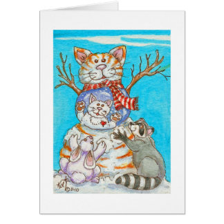 Snow Globe Snowman Cat, Kitten, Raccoon and Rabbit Stationery Note Card
