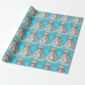 Snow Globe Snowman Cat, Kitten, Raccoon and Rabbit Wrapping Paper