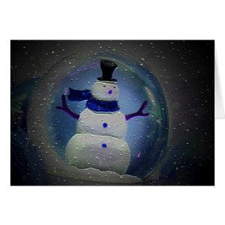 Snow Globe Snowman Christmas Card