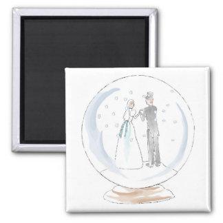 Snow Globe Wedding Couple 2 Inch Square Magnet