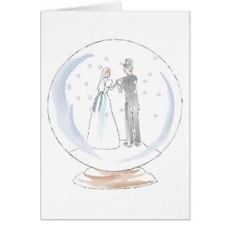 Snow Globe Wedding Couple Greeting Card