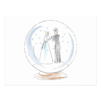 Snow Globe Wedding Couple Postcard