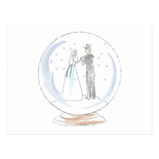 Snow Globe Wedding Couple Postcard