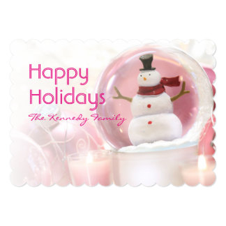 Snow globe with pink balls card