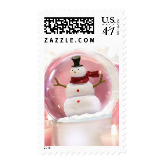Snow globe with pink balls postage