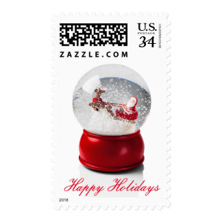 Snow globe with Santa and his sleigh being Postage