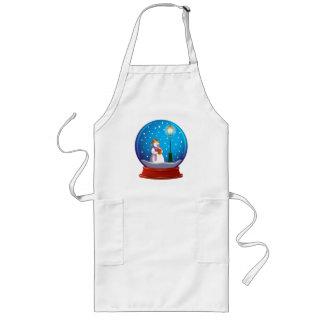 Snow globe with snow man singing. long apron