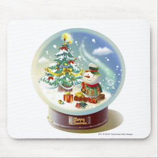 Snow globe with snowman and Christmas tree Mousepads