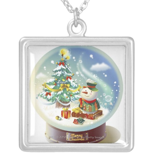 Snow globe with snowman and Christmas tree Silver Plated Necklace