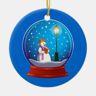 Snow globe with snowman singing ceramic ornament