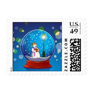 Snow globe with snowman singing postage