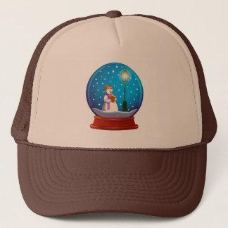Snow globe with snowman singing trucker hat