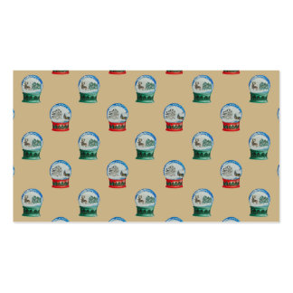 Snow Globes Mixed Pattern Christmas Gold Backdrop Double-Sided Standard Business Cards (Pack Of 100)