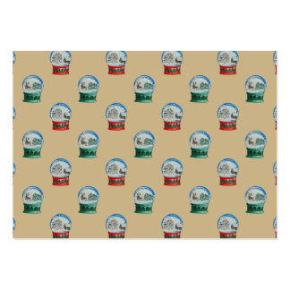 Snow Globes Mixed Pattern Christmas Gold Backdrop Large Business Cards (Pack Of 100)