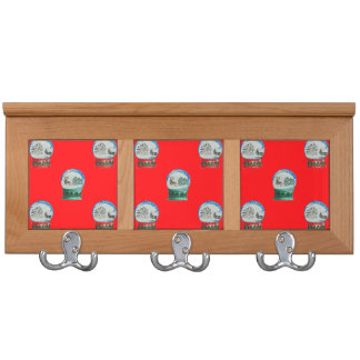 Snow Globes Mixed Pattern Christmas Red Background Coat Rack