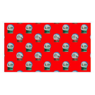 Snow Globes Mixed Pattern Christmas Red Background Double-Sided Standard Business Cards (Pack Of 100)