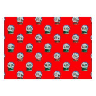 Snow Globes Mixed Pattern Christmas Red Background Large Business Cards (Pack Of 100)