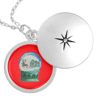Snow Globes Mixed Pattern Christmas Red Background Locket Necklace