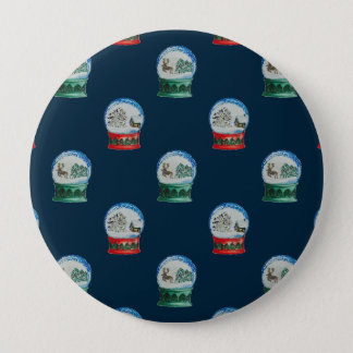 Snow Globes Mixed Pattern Midnight Blue Backdrop Button