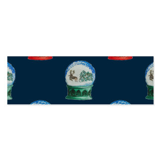 Snow Globes Mixed Pattern Midnight Blue Backdrop Double-Sided Mini Business Cards (Pack Of 20)