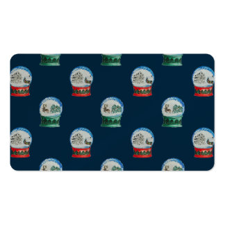 Snow Globes Mixed Pattern Midnight Blue Backdrop Double-Sided Standard Business Cards (Pack Of 100)