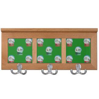 Snow Globes Mixed Pattern on Christmas Green Coat Rack