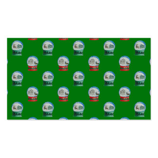 Snow Globes Mixed Pattern on Christmas Green Double-Sided Standard Business Cards (Pack Of 100)