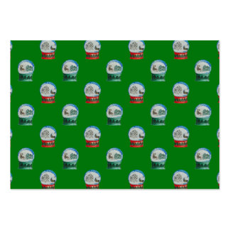Snow Globes Mixed Pattern on Christmas Green Large Business Cards (Pack Of 100)