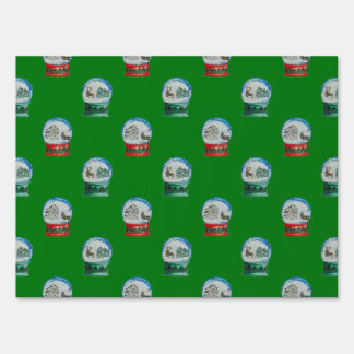 Snow Globes Mixed Pattern on Christmas Green Lawn Sign