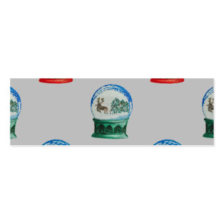 Snow Globes Mixed Pattern on Christmas Silver Base Double-Sided Mini Business Cards (Pack Of 20)