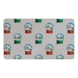 Snow Globes Mixed Pattern on Christmas Silver Base Double-Sided Standard Business Cards (Pack Of 100)