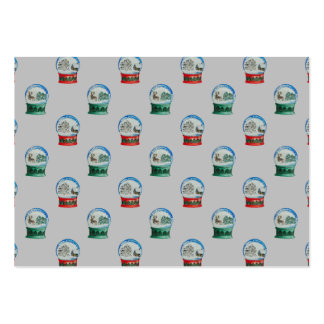 Snow Globes Mixed Pattern on Christmas Silver Base Large Business Cards (Pack Of 100)